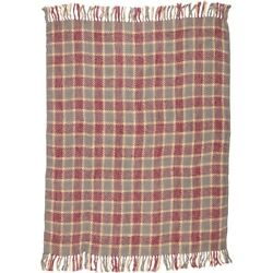 Grey Rustic & Lodge Decor VHC Devon Throw Acrylic Plaid Knotted Tassels