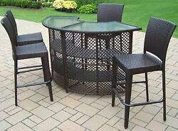 Patio Bar Set 5 Pcs Wicker Steel Half Round Table Chairs Outdoor Yard Furniture