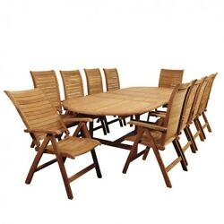 11 Piece Patio Dining Set Teak Oval Double Extendable Outoor Garden Furniture