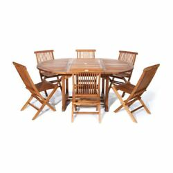 7 Piece Outdoor Dining Set Teak Oval Table Folding Chairs Patio Garden Furniture