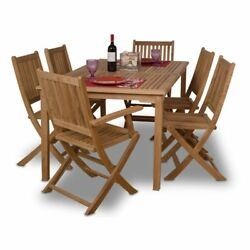 7 Piece Patio Dining Set Teak Outdoor Furniture Rectangle Table Folding Chairs