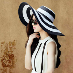 Women#x27;s Summer Large Floppy Folding Wide Brim Cap Straw Sun Beach Hat New $8.36