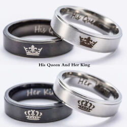 His Queen And Her King Stainless Steel Couple For Lover Engagement Rings Jewelry