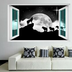 Howling Wolves Moon Stars Wall Art Stickers Mural Decal Kids Bedroom Home EJ11 GBP 18.99