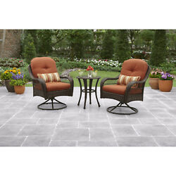 Bistro Outdoor Set 3 Piece Patio Garden Furniture Backyard Deck Metal Wicker
