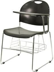 Flash Furniture Black Plastic Chair with Left Handed Flip-Up Tablet Arm and