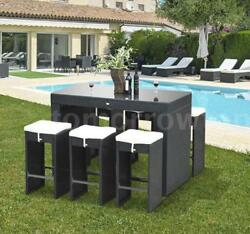 7 Piece Outdoor Rattan Wicker Bar Pub Table & Chairs Patio Dining Set - S1Z9
