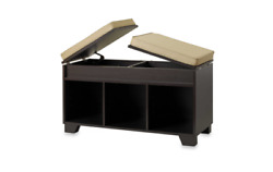Real Simple 3-Cube Seat Split Top Storage Home Organizer Bench in Espresso.