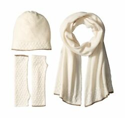 La Fiorentina Women's Cashmere Cable Beanie Scarf and Fingerless Glove Set