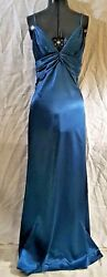 Sexy Cinderella Gorgeous Blue Teal V Neck Straps Low Back Long Prom Dress Large
