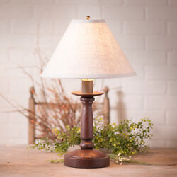 Butcher#x27;s Wood Table Lamp with Ivory Linen Shade in 5 Color Choices Country Lamp $173.80