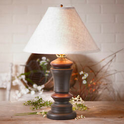 Peppermill Wood Table Lamp with Ivory Linen Shade.Primitive Country Rustic Lamp $241.25