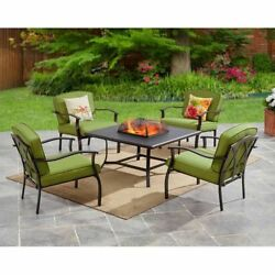 Patio Dining Conversation Set 5Pc Fire Pit Table Green 4 Chair Outdoor Furniture