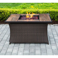 Hanover 40000 BTU Woven Fire Pit Coffee Table With Woodgrain Tile Top And Lid