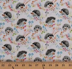 Hedgehogs Animals Enchanted Forest Kids White Cotton Fabric Print BTY D480.17