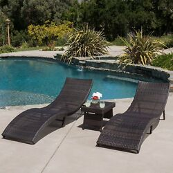 Maureen Outdoor 3pc PE Wicker Folding Chaise Lounge Chair & Table Set