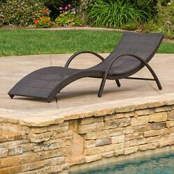 Great Deal Furniture Maureen Outdoor Brown Wicker Folding Armed Chaise Lounge