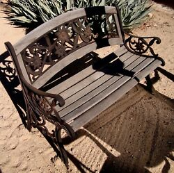 RARE OLD LATE 1800's EARLY 1900's CAST WROUGHT IRON & WOOD LOVE BENCH HAND MADE