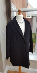 M&S Collection Black Italian Fabric Wool Coat With Cashmere BNWOT UK 20 RRP £119