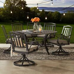 7-Piece Outdoor Patio Furniture Dining Set w 6 Swivel Rocker Chairs Round Table