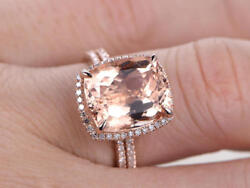 10x12mm Cushion Morganite & Dia 14K Rose Gold Over Wedding Halo Bridal Ring Set