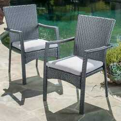 Outdoor Wicker Dining Chair W Cushion Set of 2 Iron Frame Grey Patio Furniture