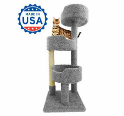 Wooden Cat Tree Tower for Large Cats Beige Brown Gray Blue and Green Carpet