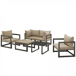 Modway EEI-1723-BRN-MOC-SET Fortuna 6 Piece Outdoor Patio Sectional Sofa Set In