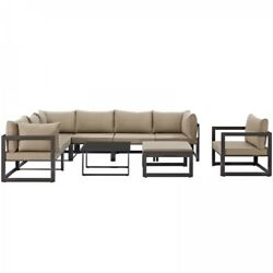 Modway EEI-1734-BRN-MOC-SET Fortuna 9 Piece Outdoor Patio Sectional Sofa Set In