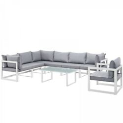 Modway EEI-1736-WHI-GRY-SET Fortuna 8 Piece Outdoor Patio Sectional Sofa Set In