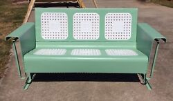 Vintage Restored Metal Patio Porch Glider Outdoor Furniture Green and White
