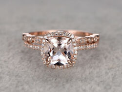 2.50Ct Cushion-Cut Morganite 14K Rose Gold Over Curved Wedding Bridal Ring Set