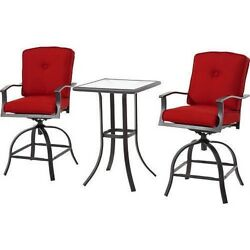 3-Piece Outdoor Swivel High Bistro Dining Set 2 Seats Modern Patio Furniture