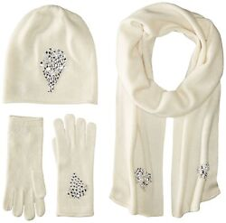 La Fiorentina Women's Jeweled Cashmere Scarf Hat and Glove Set Ivory On... New