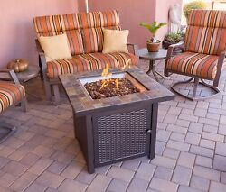 Propane Square Slate Fire Pit Slate Top Outdoor Fireplace Patio Gas Endless New