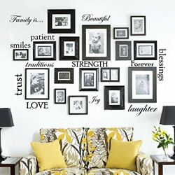 Set of 12 Family Quote Words Vinyl Wall Sticker Picture Frame Wall Family Room
