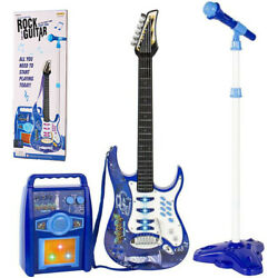 Kids Blue Electric Guitar Set MP3 Player Learning Toys Microphone Amp $35.99
