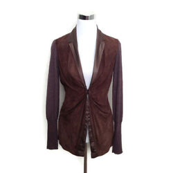 Brunello Cucinelli Cashmere Brown Leather Jacket Coat Women's S M Draped Suede
