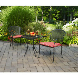 3-Piece Outdoor Bistro Set Cushioned Seat Wrought Iron Garden Patio Furniture