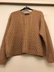 Marks&Spencer Ladies Jumper Camel Button Back Acrylic Wool Blend Size 22
