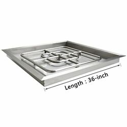 Onlyfire Stainless Steel Square Fire Pit Burner with Pan 36-inch