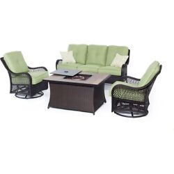 Orleans 4-Piece All-Weather Wicker Patio Fire Pit Seating Set with Avocado Green