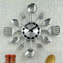 Bits and Pieces Contemporary Kitchen Utensil Clock Silver Toned Forks Spoons $29.95