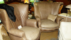 Pair of Walter E. Smith Wing Back Chairs with Reversible Cushion