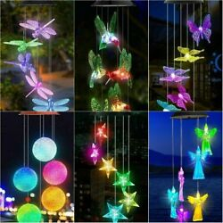 LED Color-Changing  Power Solar Wind Chimes Yard Home Garden Decor US $15.99