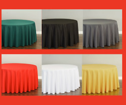 LinenTablecloth 120 in. Round Polyester Tablecloths (10 Pack) 33 Colors!