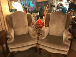 Vintage Pair of Chipndale Eagle-Claw Foot Wing Back Chairs