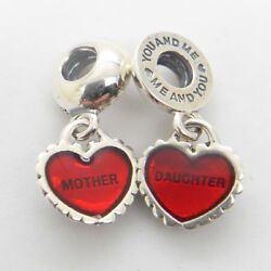 Authentic 925 Silver Piece Of My Heart Two-Part Dangle Charms Mother's Day Gift