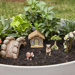 Bear and Cabin Garden Kit Colorful Figurines Indoor Outdoor Patio Lawn Decor Set