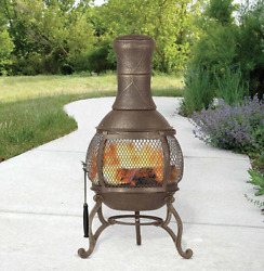 Chiminea Outdoor Chimenea Fireplace Small Porch Wood Burning Fire Pit Chimney